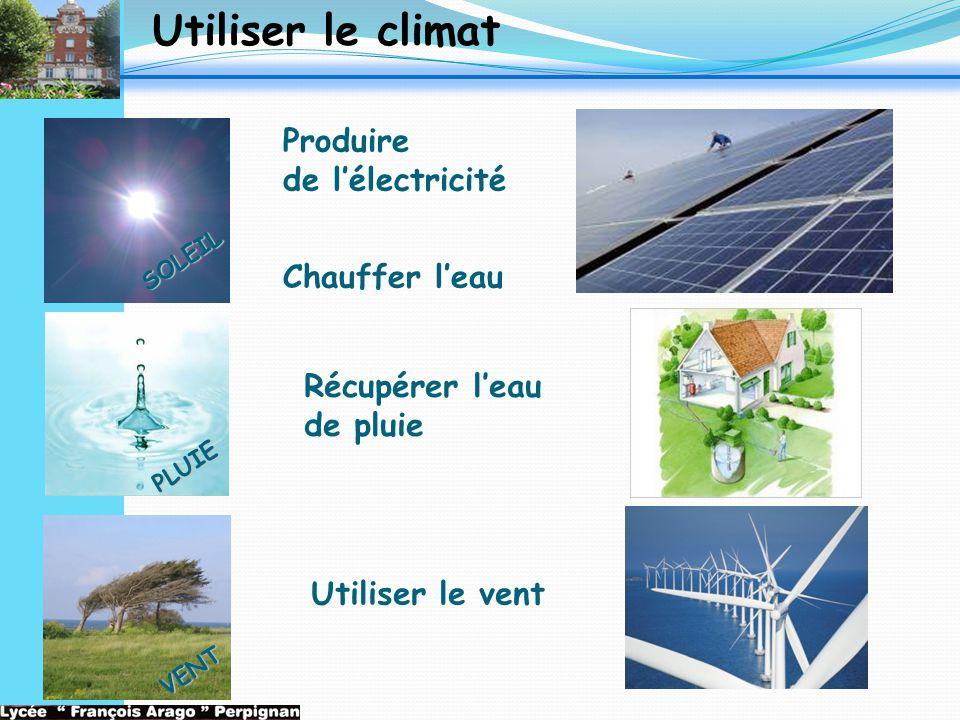 Utiliser le climat Récupérer l'eau de pluie SOLEIL PLUIE VENT Utiliser le vent Produire de l'électricité Chauffer l'eau
