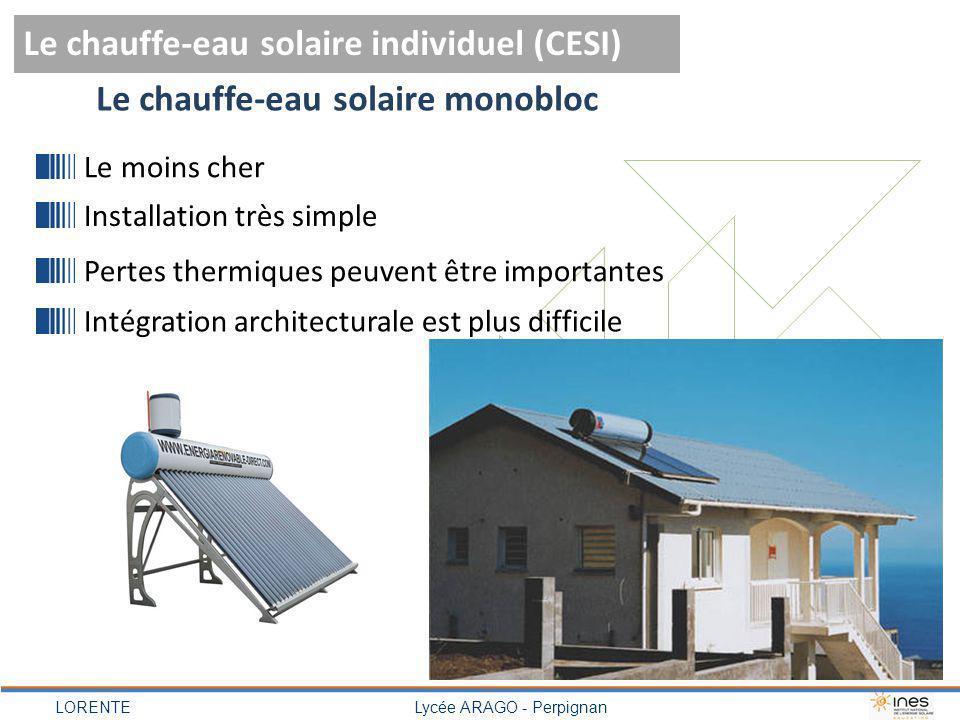 LORENTELycée ARAGO - Perpignan Le chauffe-eau solaire individuel (CESI) Le chauffe-eau solaire monobloc Le moins cher Installation très simple Pertes