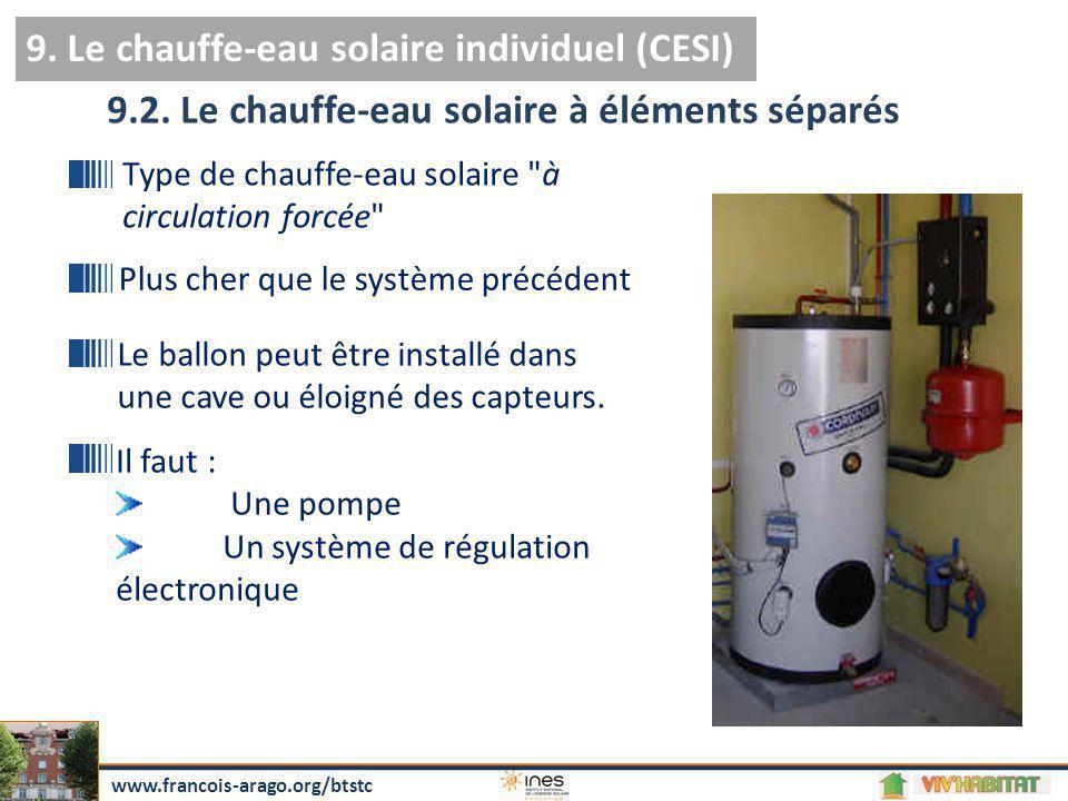 9. Le chauffe-eau solaire individuel (CESI) 9.2. Le chauffe-eau solaire à éléments séparés Type de chauffe-eau solaire