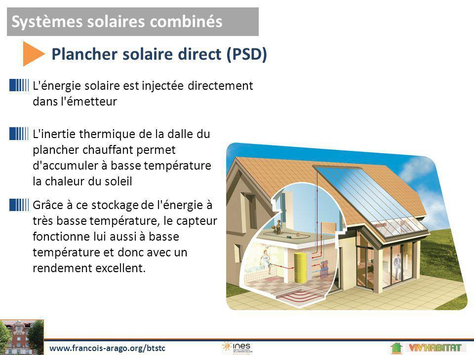 Systèmes solaires combinés Plancher solaire direct (PSD) www.francois-arago.org/btstc L'énergie solaire est injectée directement dans l'émetteur L'ine