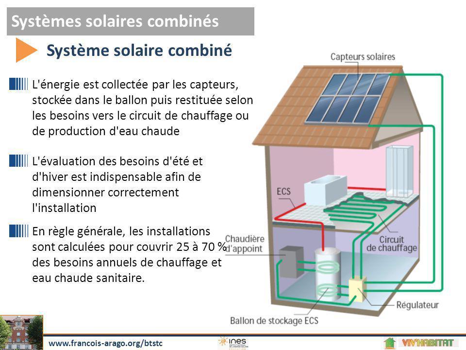 Systèmes solaires combinés Système solaire combiné www.francois-arago.org/btstc L'énergie est collectée par les capteurs, stockée dans le ballon puis