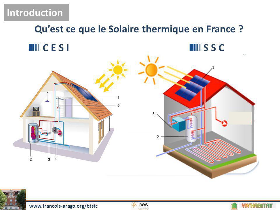 Arrivée d'eau froide 2 3 1 Qu'est ce que le Solaire thermique en France ? C E S IS S C Introduction www.francois-arago.org/btstc
