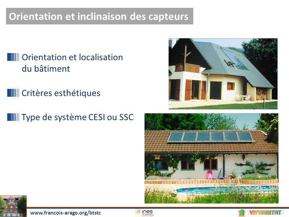 Orientation et inclinaison des capteurs Orientation et localisation du bâtiment Critères esthétiques Type de système CESI ou SSC www.francois-arago.or