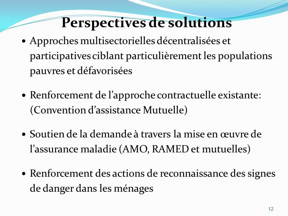 Perspectives de solutions Approches multisectorielles décentralisées et participatives ciblant particulièrement les populations pauvres et défavorisée
