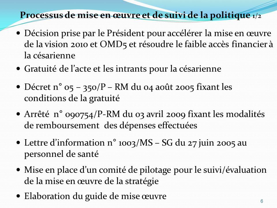 Processus de mise en œuvre et de suivi de la politique 1/2 Décision prise par le Président pour accélérer la mise en œuvre de la vision 2010 et OMD5 et résoudre le faible accès financier à la césarienne Gratuité de l'acte et les intrants pour la césarienne Décret n° 05 – 350/P – RM du 04 août 2005 fixant les conditions de la gratuité Arrêté n° 090754/P-RM du 03 avril 2009 fixant les modalités de remboursement des dépenses effectuées Lettre d'information n° 1003/MS – SG du 27 juin 2005 au personnel de santé Mise en place d'un comité de pilotage pour le suivi/évaluation de la mise en œuvre de la stratégie Elaboration du guide de mise œuvre 6