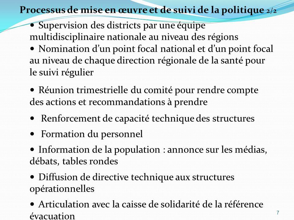 Supervision des districts par une équipe multidisciplinaire nationale au niveau des régions Nomination d'un point focal national et d'un point focal a