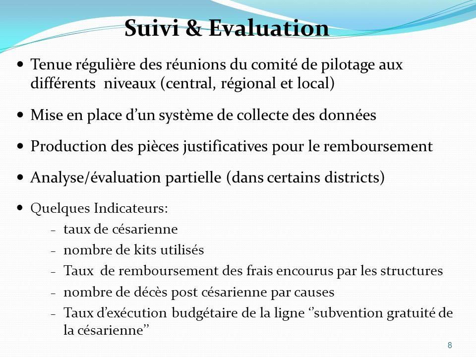 Suivi & Evaluation Tenue régulière des réunions du comité de pilotage aux différents niveaux (central, régional et local) Mise en place d'un système d