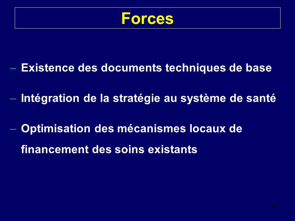 Forces –Existence des documents techniques de base –Intégration de la stratégie au système de santé –Optimisation des mécanismes locaux de financement des soins existants 10