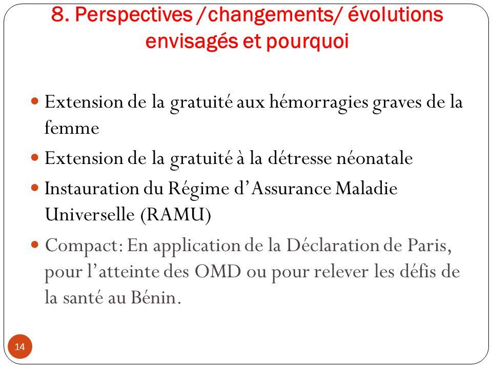 8. Perspectives /changements/ évolutions envisagés et pourquoi Extension de la gratuité aux hémorragies graves de la femme Extension de la gratuité à