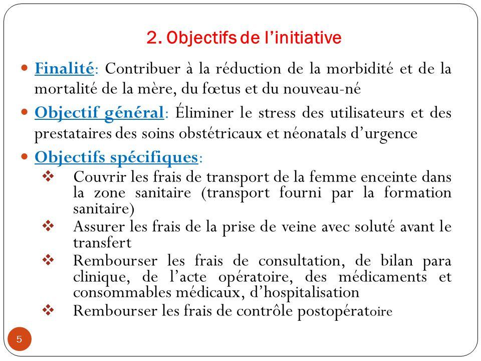 2. Objectifs de l'initiative Finalité: Contribuer à la réduction de la morbidité et de la mortalité de la mère, du fœtus et du nouveau-né Objectif gén
