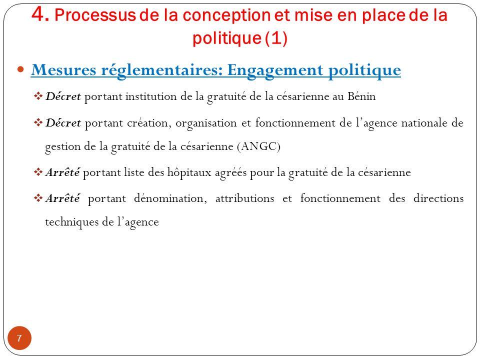 4. Processus de la conception et mise en place de la politique (1) Mesures réglementaires: Engagement politique  Décret portant institution de la gra