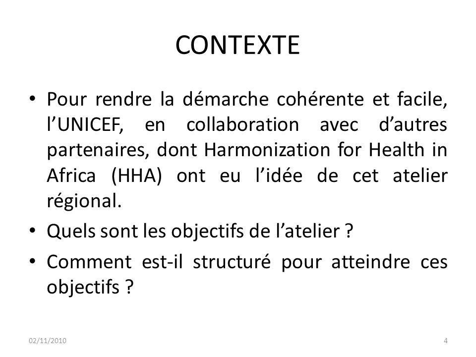 CONTEXTE Pour rendre la démarche cohérente et facile, l'UNICEF, en collaboration avec d'autres partenaires, dont Harmonization for Health in Africa (HHA) ont eu l'idée de cet atelier régional.