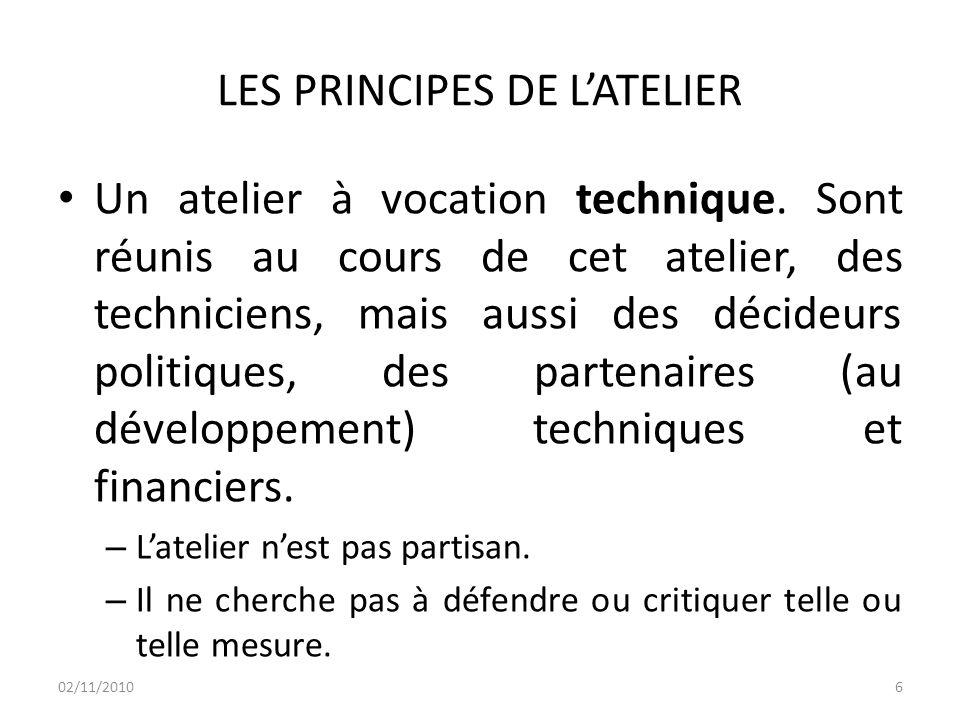 RAPPEL DES PRINCIPES DE L'ATELIER Partager autour des défis opérationnels des techniciens lors de la mise en œuvre des mesures de réformes prises par le Gouvernement.
