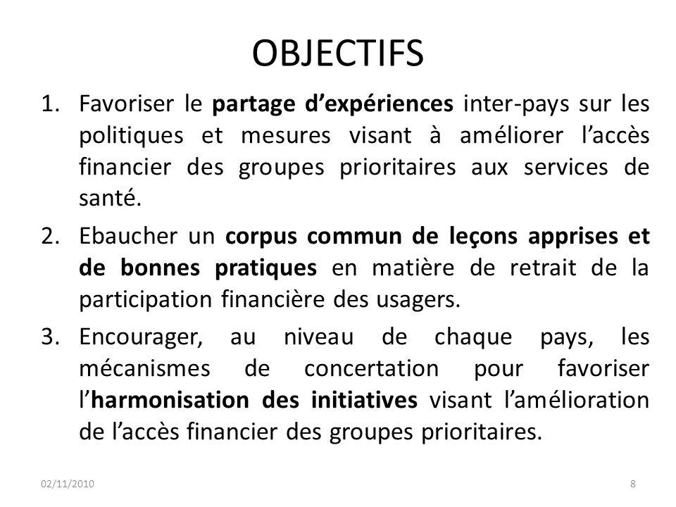 OBJECTIFS 1.Favoriser le partage d'expériences inter-pays sur les politiques et mesures visant à améliorer l'accès financier des groupes prioritaires aux services de santé.