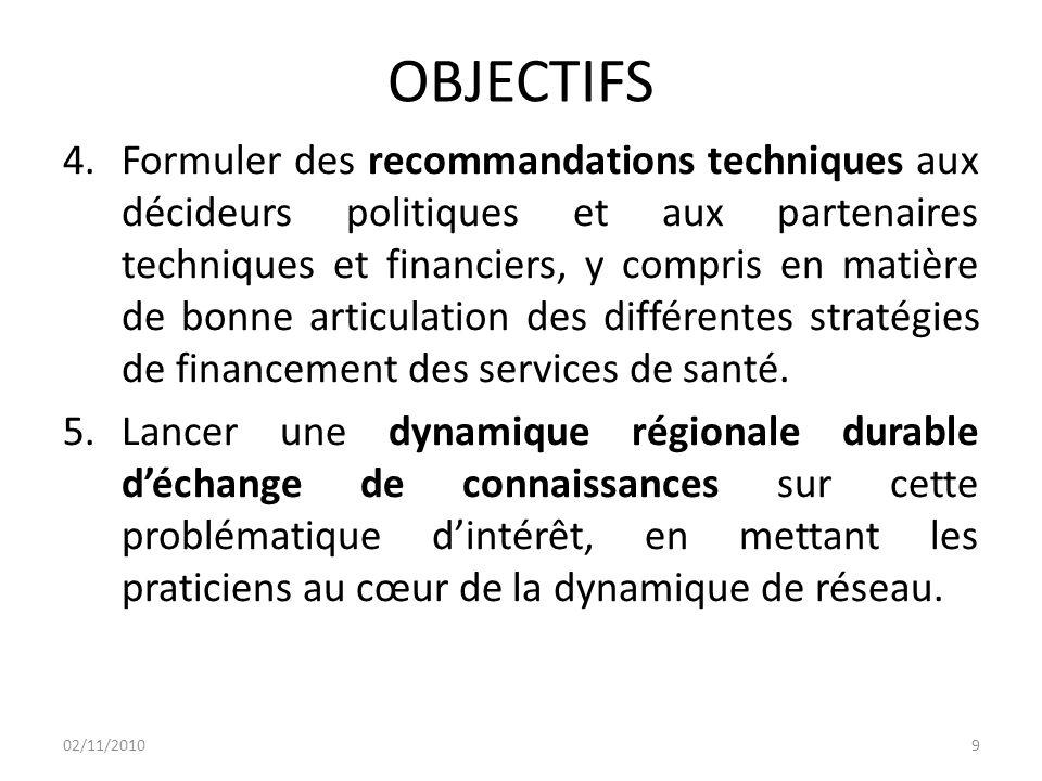 OBJECTIFS 4.Formuler des recommandations techniques aux décideurs politiques et aux partenaires techniques et financiers, y compris en matière de bonne articulation des différentes stratégies de financement des services de santé.