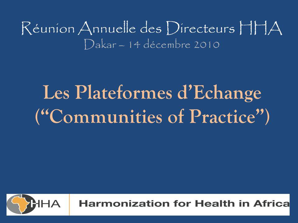 Réunion Annuelle des Directeurs HHA Dakar – 14 décembre 2010 Les Plateformes d'Echange ( Communities of Practice )