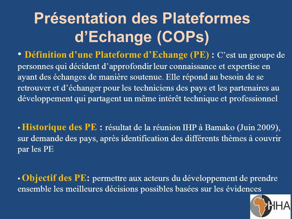 Présentation des Plateformes d'Echange (COPs) Définition d'une Plateforme d'Echange (PE) : C'est un groupe de personnes qui décident d'approfondir leur connaissance et expertise en ayant des échanges de manière soutenue.