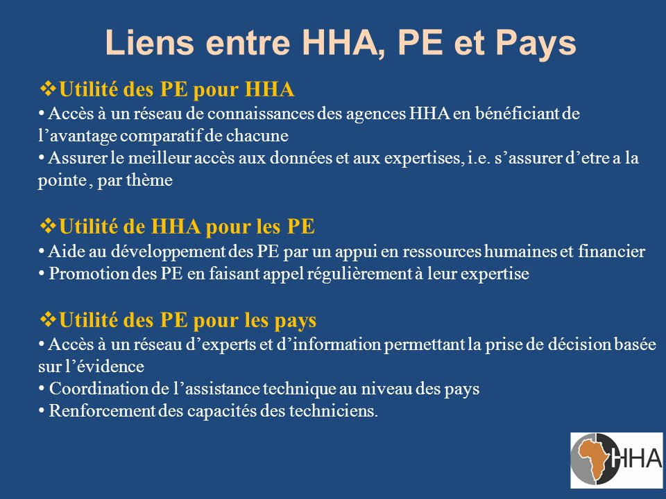 Liens entre HHA, PE et Pays  Utilité des PE pour HHA Accès à un réseau de connaissances des agences HHA en bénéficiant de l'avantage comparatif de chacune Assurer le meilleur accès aux données et aux expertises, i.e.