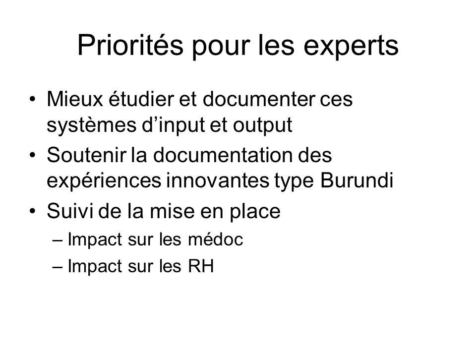 Priorités pour les experts Mieux étudier et documenter ces systèmes d'input et output Soutenir la documentation des expériences innovantes type Burundi Suivi de la mise en place –Impact sur les médoc –Impact sur les RH