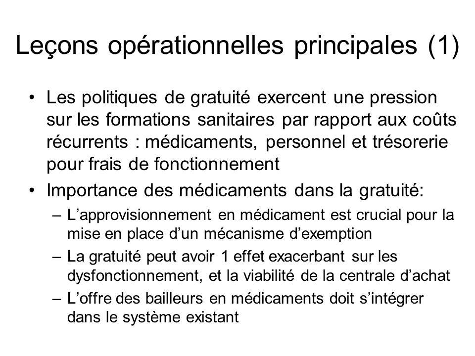 Leçons opérationnelles principales (1) Les politiques de gratuité exercent une pression sur les formations sanitaires par rapport aux coûts récurrents