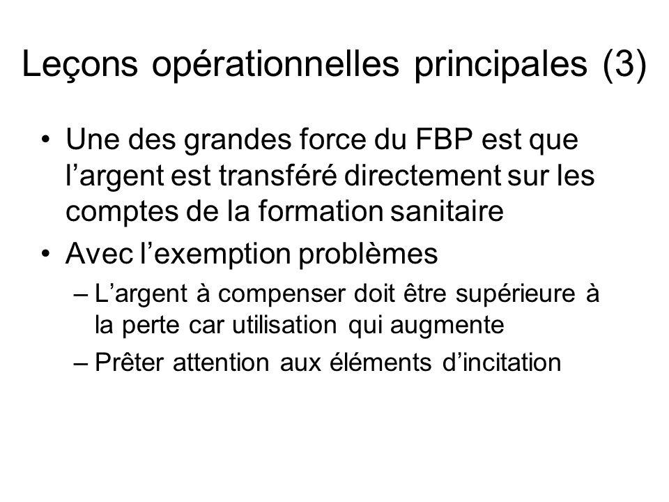 Une des grandes force du FBP est que l'argent est transféré directement sur les comptes de la formation sanitaire Avec l'exemption problèmes –L'argent à compenser doit être supérieure à la perte car utilisation qui augmente –Prêter attention aux éléments d'incitation Leçons opérationnelles principales (3)