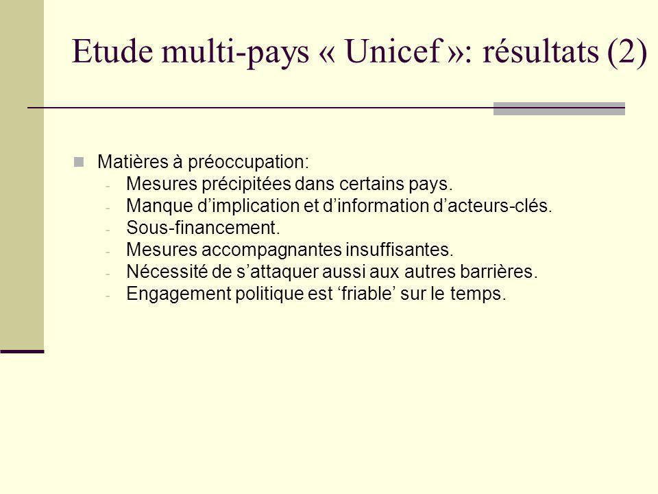 Etude multi-pays « Unicef »: résultats (3) Questions méritant plus d'attention: - Mode de rémunération des prestataires (output versus input).