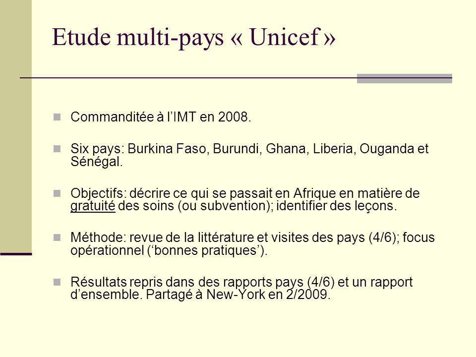 Etude multi-pays « Unicef »: résultats (1) Dynamique politique nationale forte.