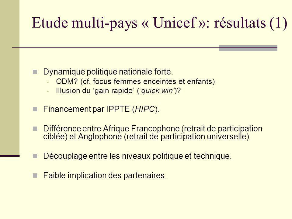 Etude multi-pays « Unicef »: résultats (2) Matières à préoccupation: - Mesures précipitées dans certains pays.