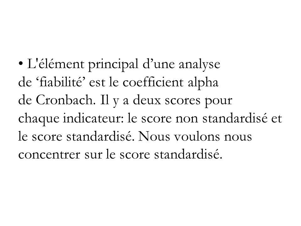 L élément principal d'une analyse de 'fiabilité' est le coefficient alpha de Cronbach.