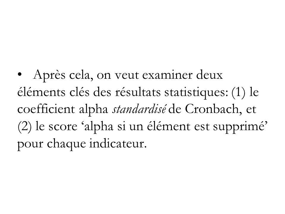 Après cela, on veut examiner deux éléments clés des résultats statistiques: (1) le coefficient alpha standardisé de Cronbach, et (2) le score 'alpha si un élément est supprimé' pour chaque indicateur.