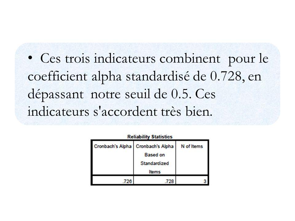 Ces trois indicateurs combinent pour le coefficient alpha standardisé de 0.728, en dépassant notre seuil de 0.5.