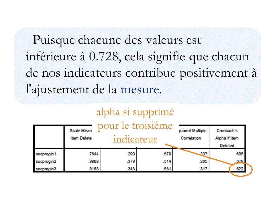Puisque chacune des valeurs est inférieure à 0.728, cela signifie que chacun de nos indicateurs contribue positivement à l ajustement de la mesure.