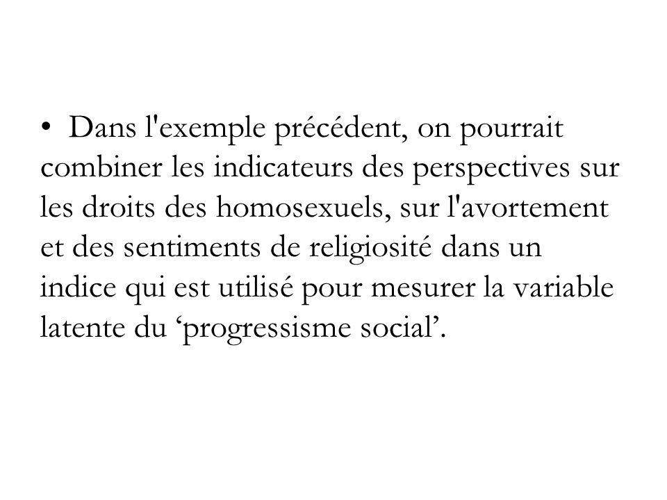 Dans l exemple précédent, on pourrait combiner les indicateurs des perspectives sur les droits des homosexuels, sur l avortement et des sentiments de religiosité dans un indice qui est utilisé pour mesurer la variable latente du 'progressisme social'.