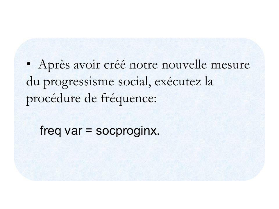 Après avoir créé notre nouvelle mesure du progressisme social, exécutez la procédure de fréquence: freq var = socproginx.