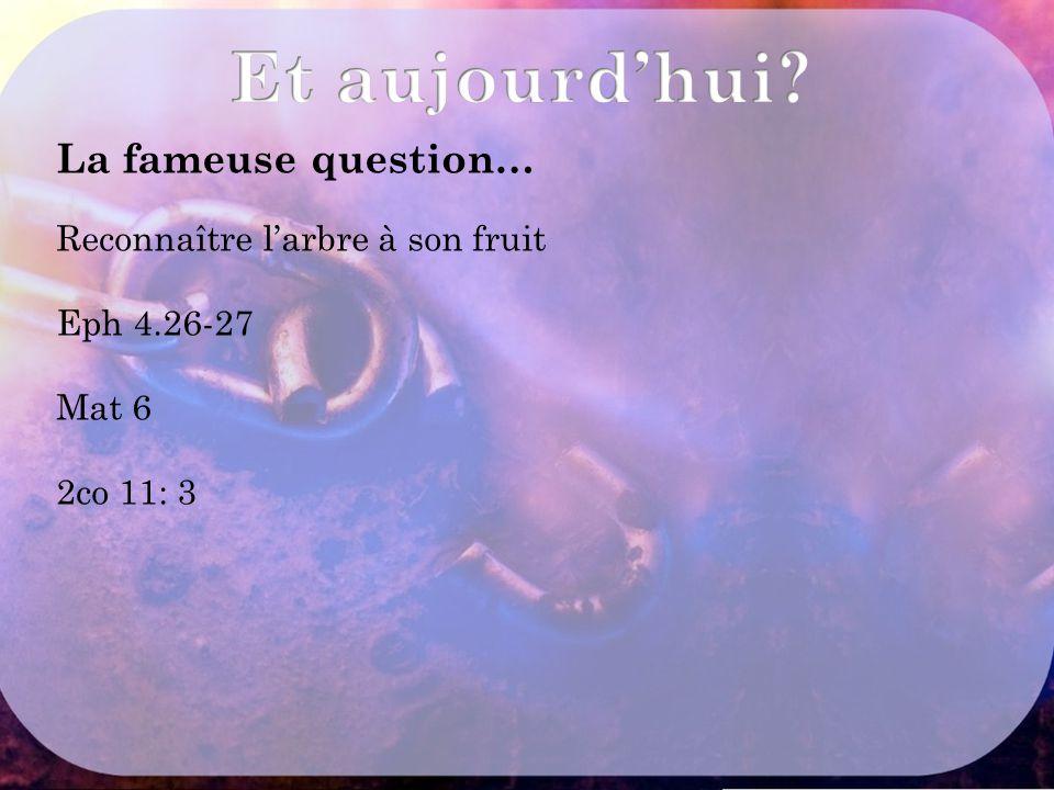 La fameuse question… Reconnaître l'arbre à son fruit Eph 4.26-27 Mat 6 2co 11: 3