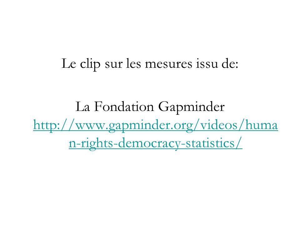 Le clip sur les mesures issu de: La Fondation Gapminder http://www.gapminder.org/videos/huma n-rights-democracy-statistics/ http://www.gapminder.org/v