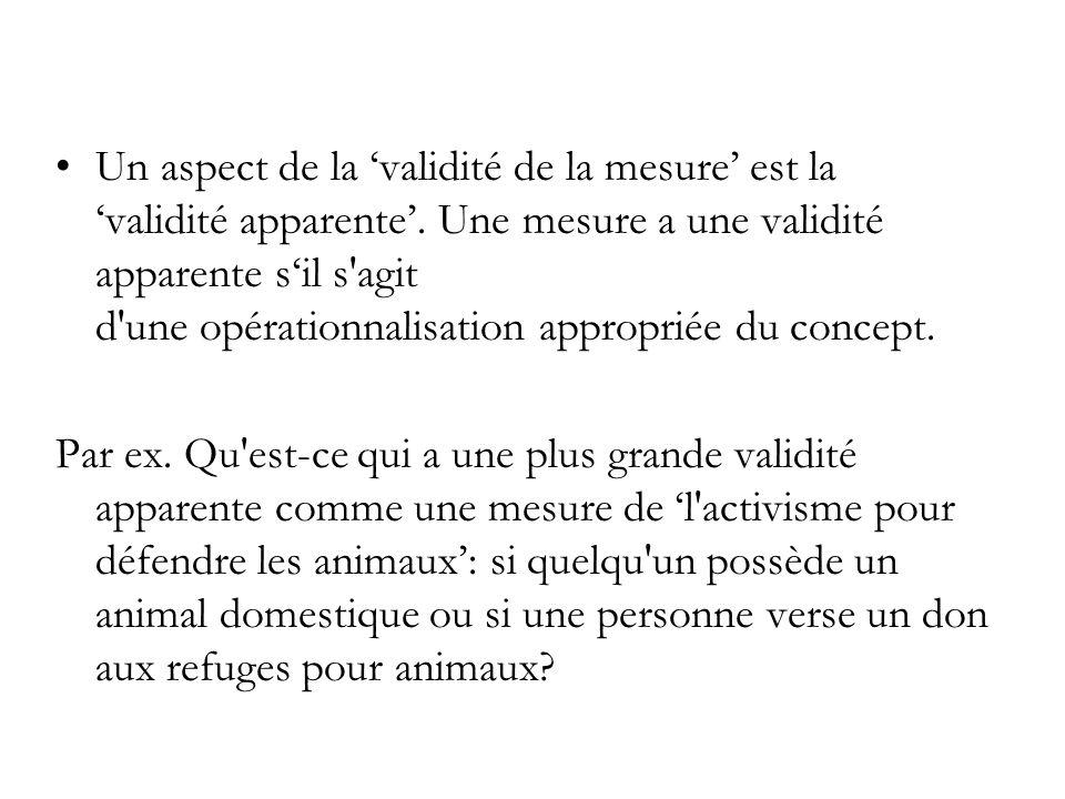 Un aspect de la 'validité de la mesure' est la 'validité apparente'. Une mesure a une validité apparente s'il s'agit d'une opérationnalisation appropr