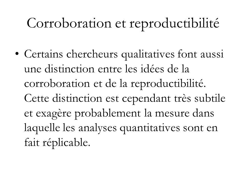Corroboration et reproductibilité Certains chercheurs qualitatives font aussi une distinction entre les idées de la corroboration et de la reproductib