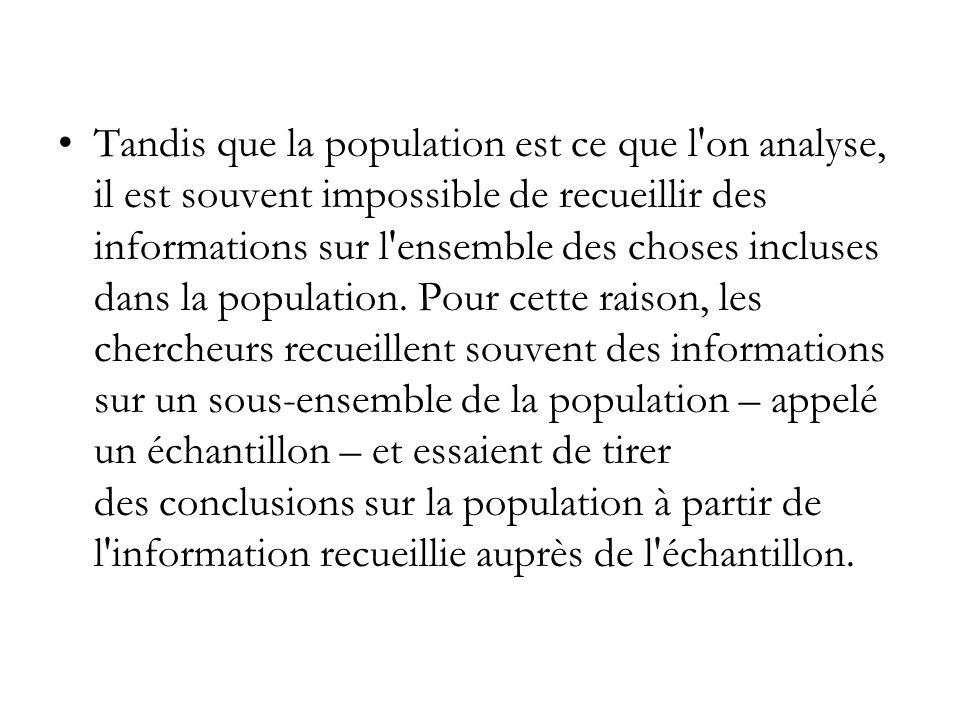 Tandis que la population est ce que l'on analyse, il est souvent impossible de recueillir des informations sur l'ensemble des choses incluses dans la