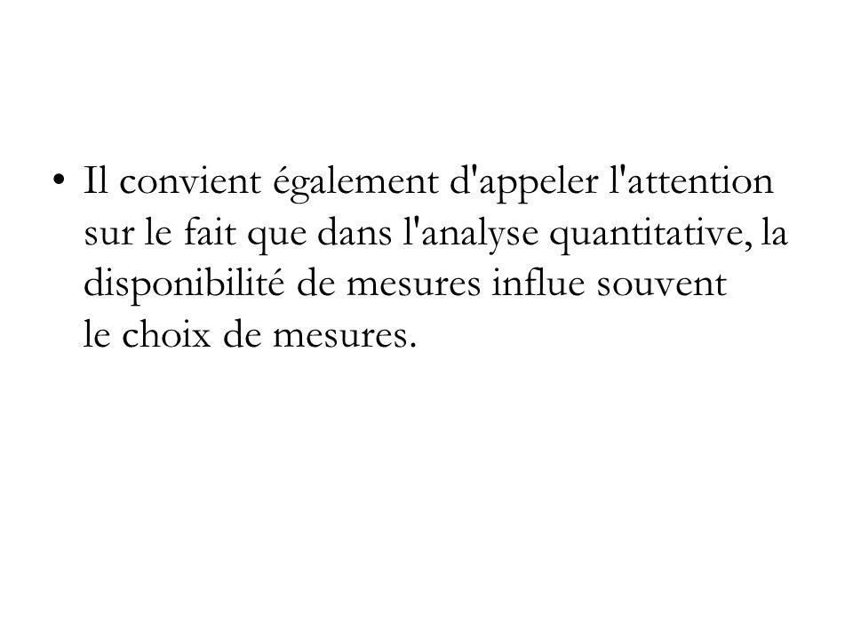 Il convient également d'appeler l'attention sur le fait que dans l'analyse quantitative, la disponibilité de mesures influe souvent le choix de mesure