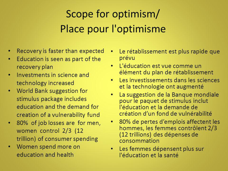 Scope for optimism/ Place pour l'optimisme Recovery is faster than expected Education is seen as part of the recovery plan Investments in science and
