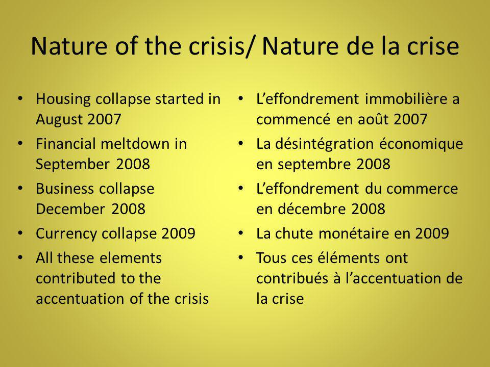 Nature of the crisis/ Nature de la crise Housing collapse started in August 2007 Financial meltdown in September 2008 Business collapse December 2008 Currency collapse 2009 All these elements contributed to the accentuation of the crisis L'effondrement immobilière a commencé en août 2007 La désintégration économique en septembre 2008 L'effondrement du commerce en décembre 2008 La chute monétaire en 2009 Tous ces éléments ont contribués à l'accentuation de la crise