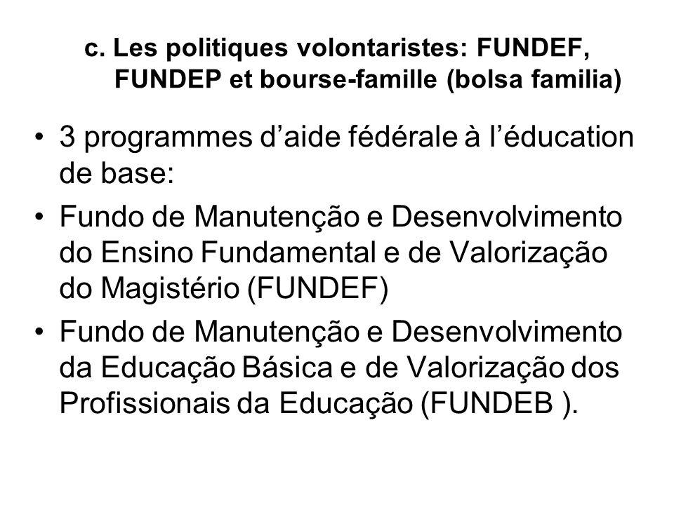 c. Les politiques volontaristes: FUNDEF, FUNDEP et bourse-famille (bolsa familia) 3 programmes d'aide fédérale à l'éducation de base: Fundo de Manute