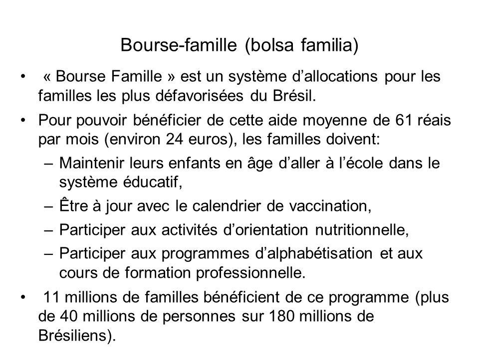 Bourse-famille (bolsa familia) « Bourse Famille » est un système d'allocations pour les familles les plus défavorisées du Brésil. Pour pouvoir bénéfi
