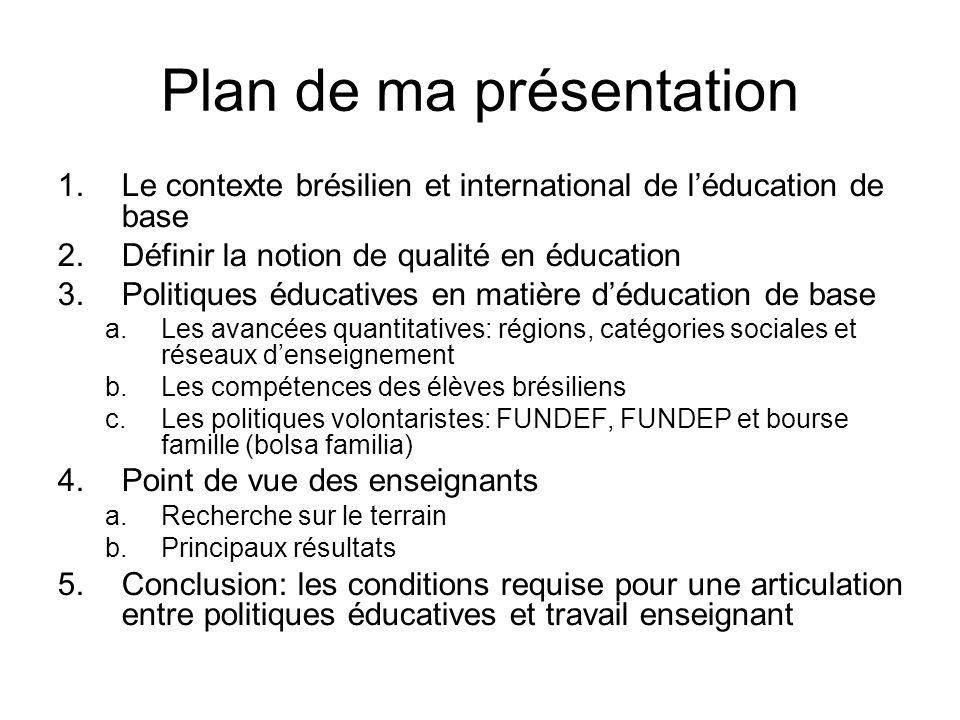 Plan de ma présentation 1.Le contexte brésilien et international de l'éducation de base 2.Définir la notion de qualité en éducation 3.Politiques éduca
