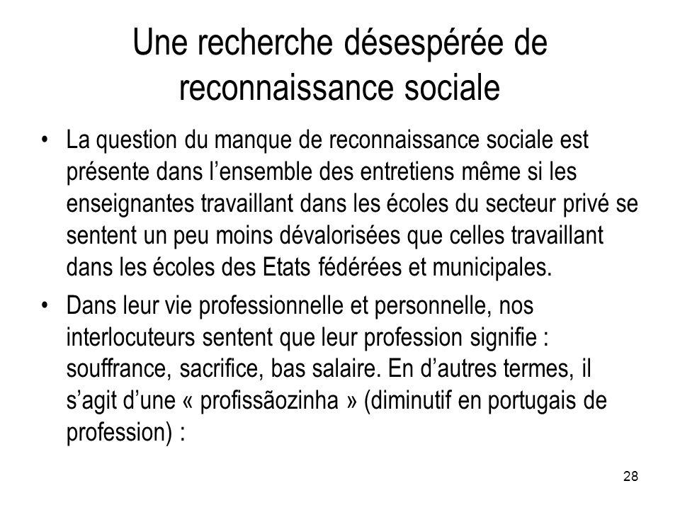 28 Une recherche désespérée de reconnaissance sociale La question du manque de reconnaissance sociale est présente dans l'ensemble des entretiens même