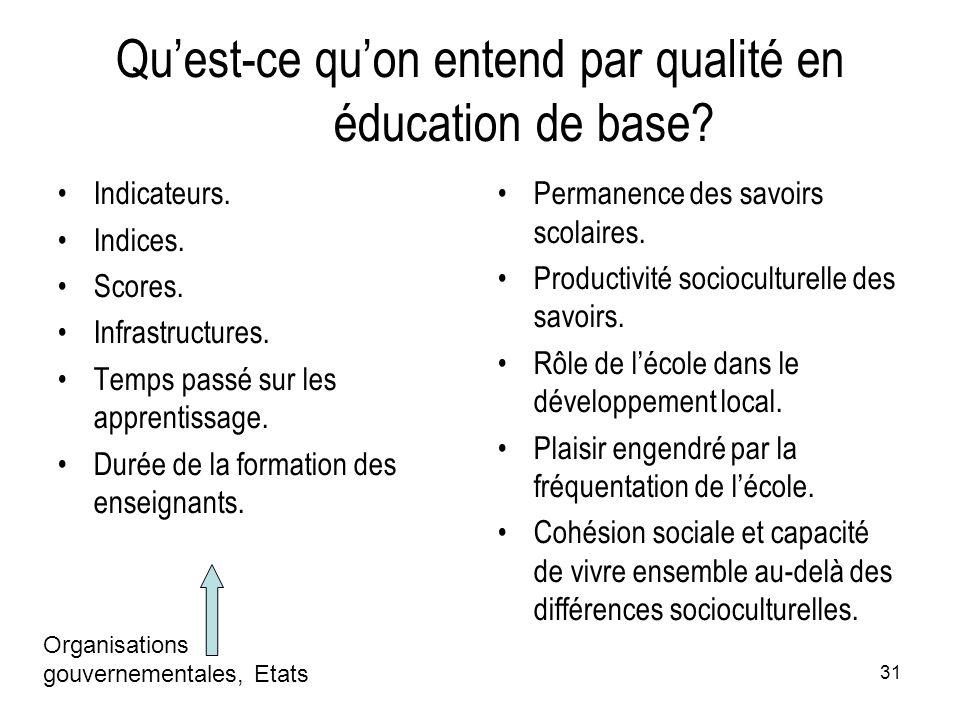 31 Qu'est-ce qu'on entend par qualité en éducation de base? Indicateurs. Indices. Scores. Infrastructures. Temps passé sur les apprentissage. Durée de