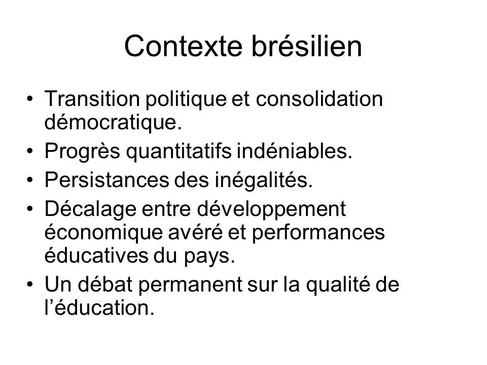 Contexte brésilien Transition politique et consolidation démocratique. Progrès quantitatifs indéniables. Persistances des inégalités. Décalage entre d