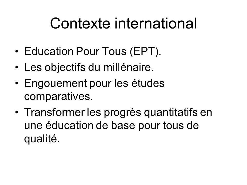 Contexte international Education Pour Tous (EPT). Les objectifs du millénaire. Engouement pour les études comparatives. Transformer les progrès quanti