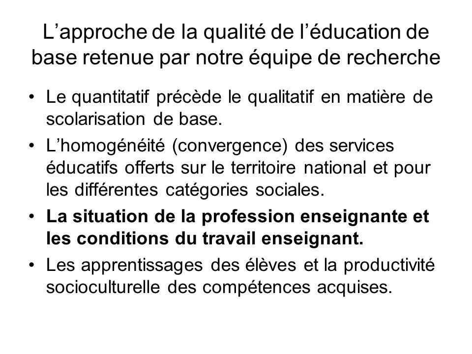 L'approche de la qualité de l'éducation de base retenue par notre équipe de recherche Le quantitatif précède le qualitatif en matière de scolarisation